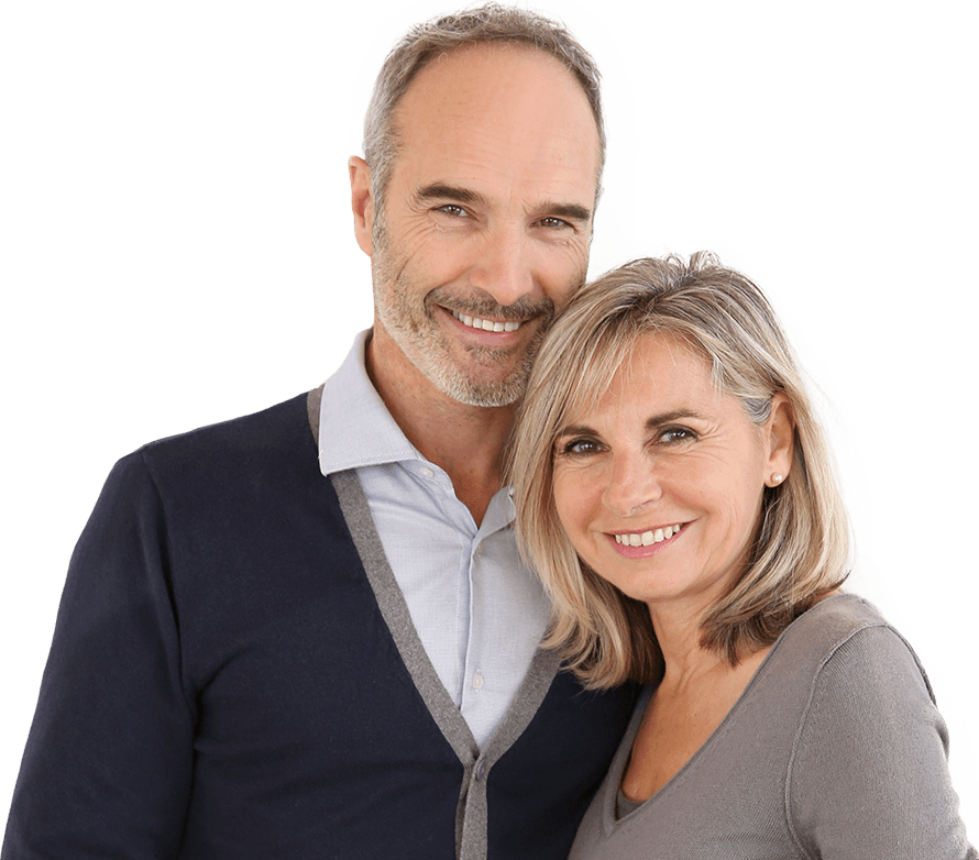Older man and woman with healthy smiles